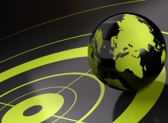 world and target over a black background - geolocation